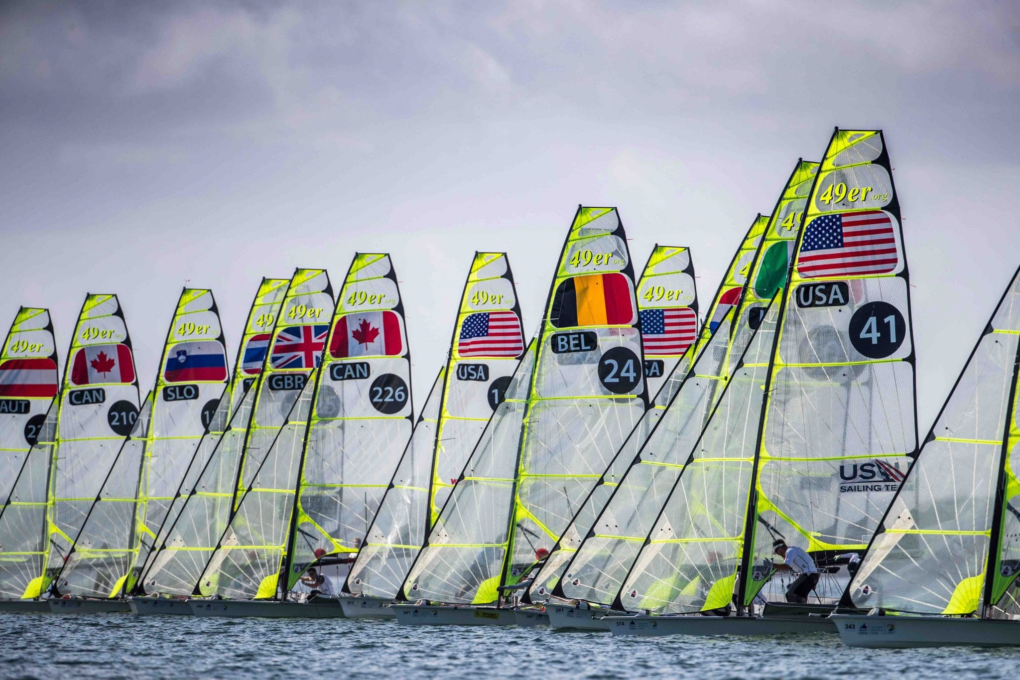 49er starting line at 2018 World Cup Series Miami